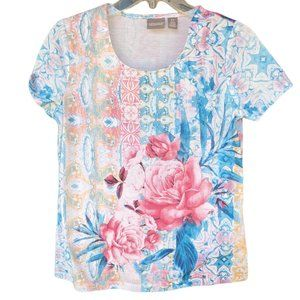 Chico's Floral Short Sleeve Round Neck Top - Chico's Size 0/ US XS 4